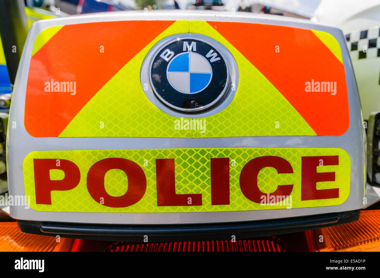 Lisburn, Northern Ireland. 25th July, 2014. - 'Police' on the rear of a motorcycle Credit:  Stephen Barnes/Alamy - Stock Image