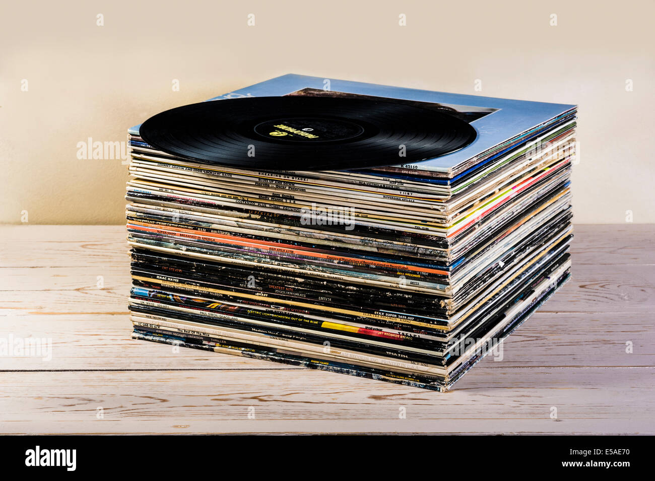Stack Of Old Long Playing Album Records Stock Photo