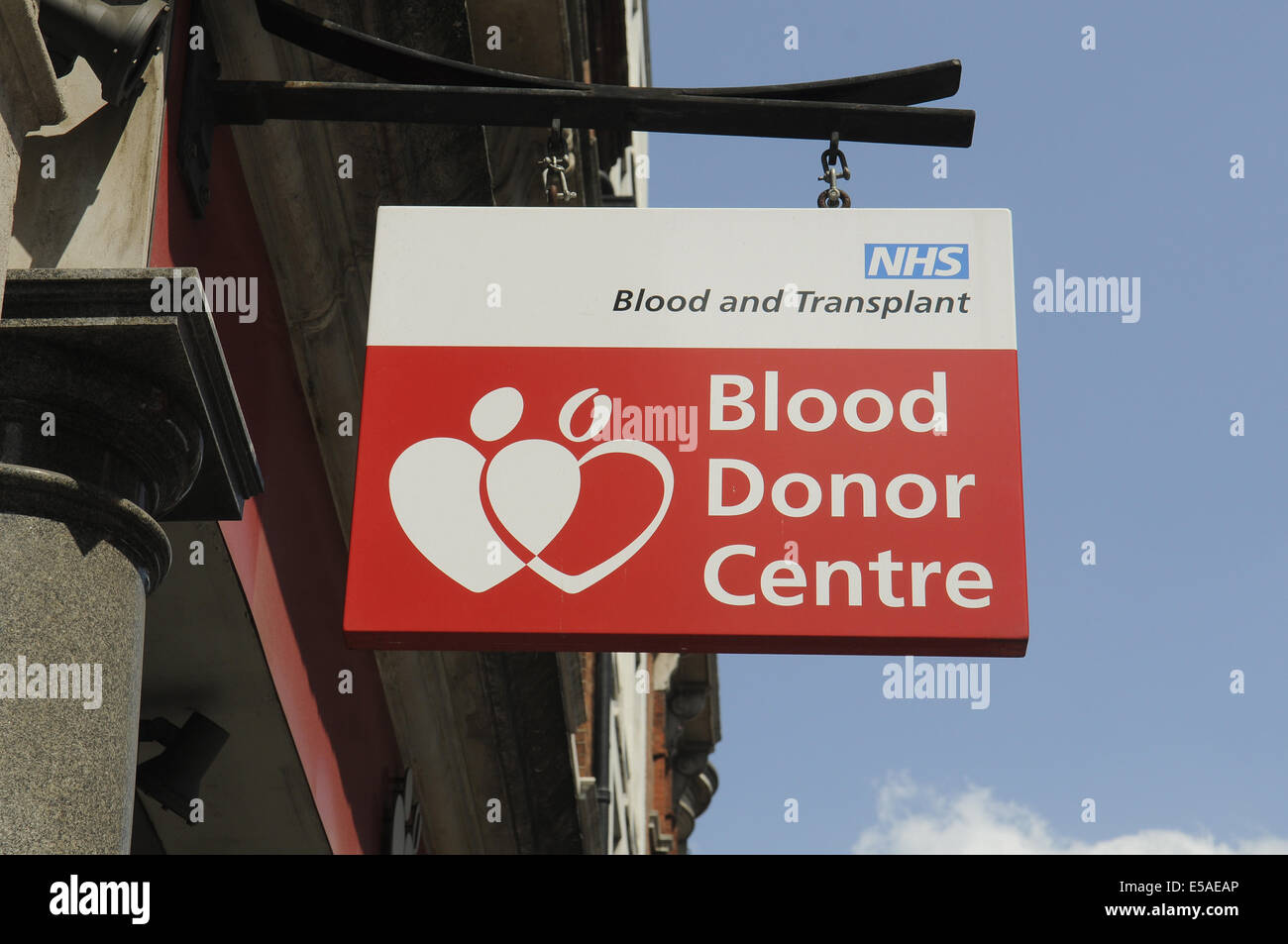 Blood Donor Centre Sign,Margaret Street,London.UK Stock Photo