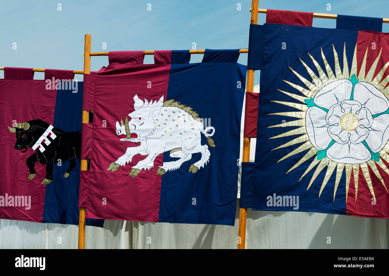 Tewkesbury medieval festival Heraldic Banners - Stock Image