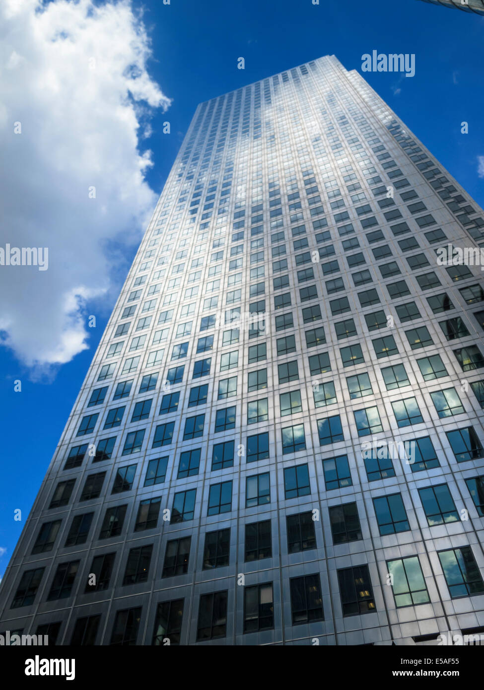 One Canada Square Canary Wharf Financial District Office Buildings London England - Stock Image