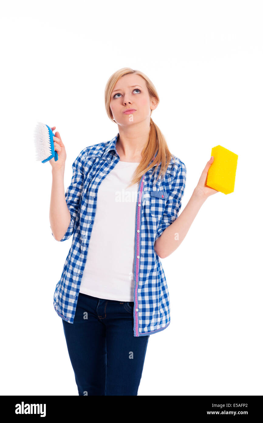 Brush or sponge? Which I have to choose?, Debica, Poland - Stock Image