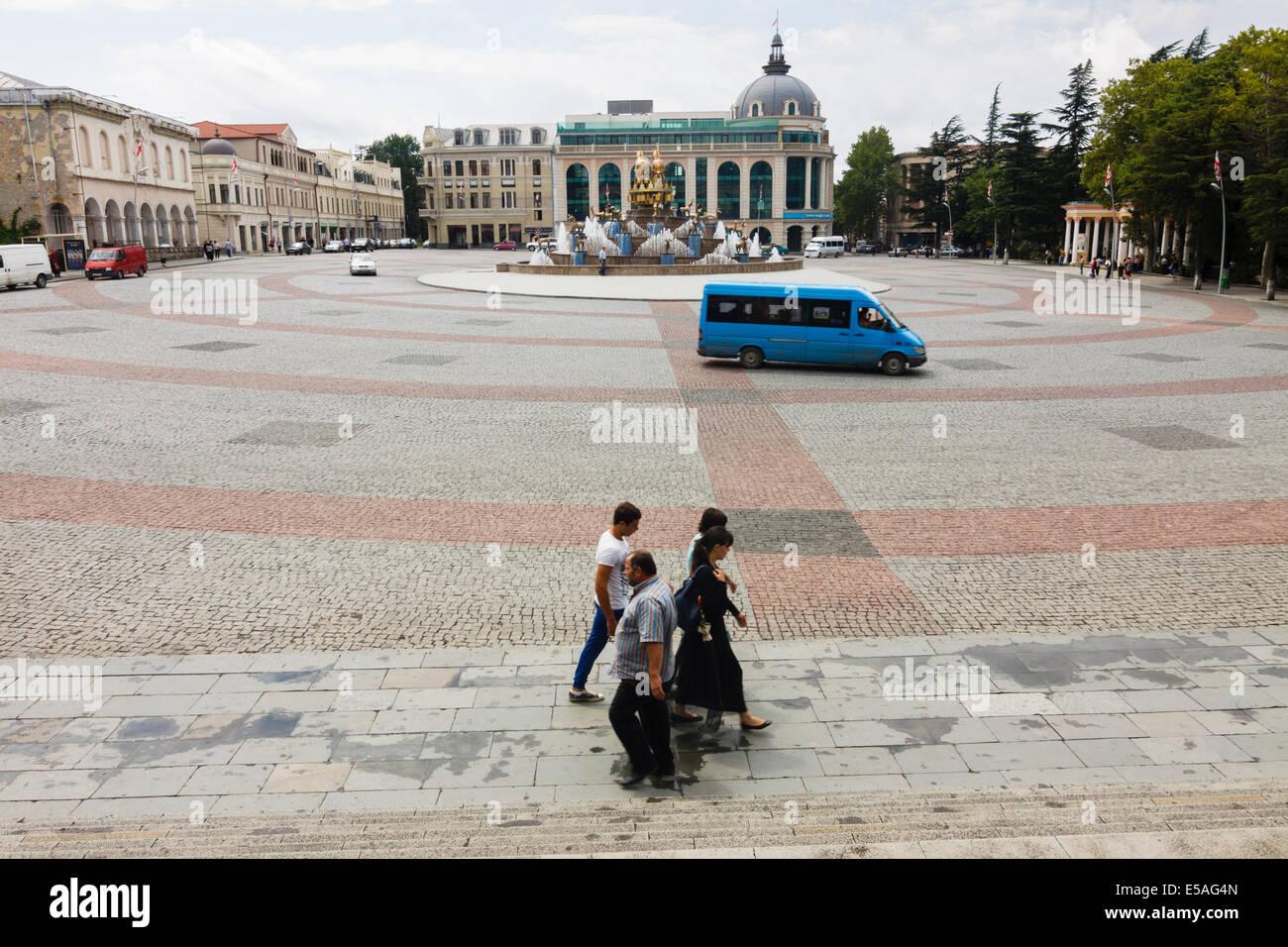 Davit Aghmasheneblis square, Kutaisi, Georgia Stock Photo