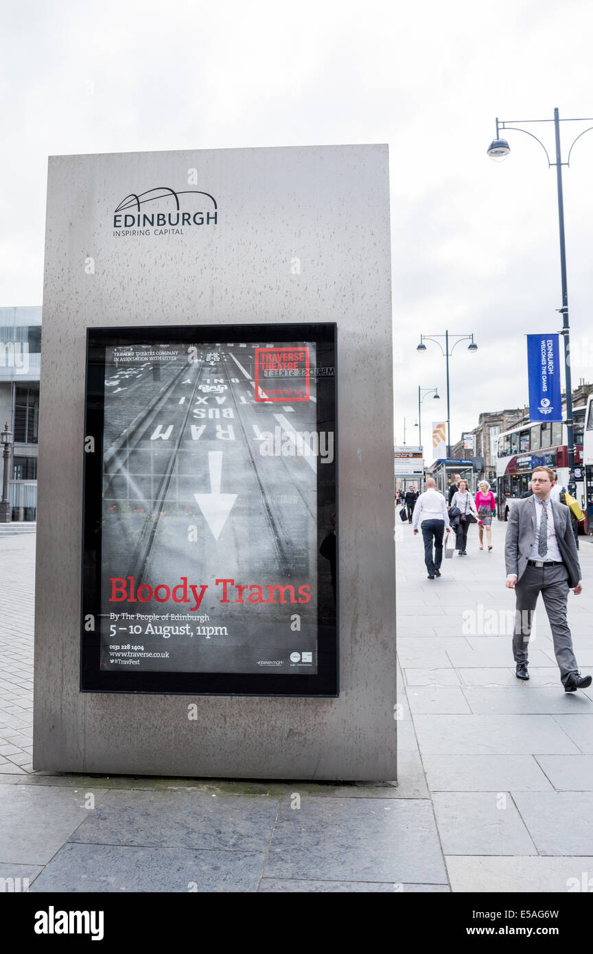 Billboard poster on Lothian Road advertising the Bloody Trams theatre production at the Traverse Theatre Edinburgh Stock Photo