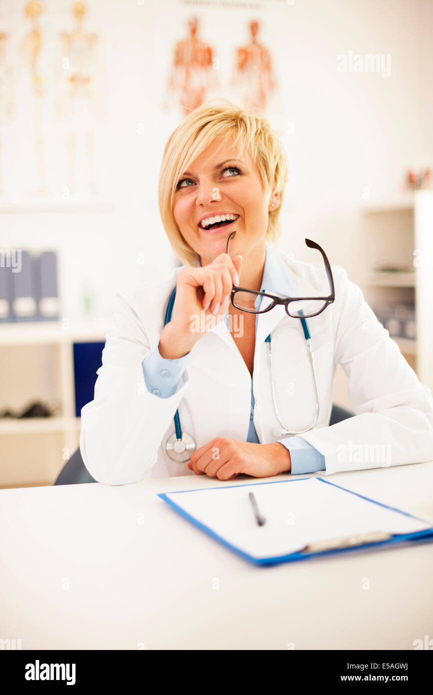 Portrait of beautiful blonde female doctor, Debica, Poland. Stock Photo