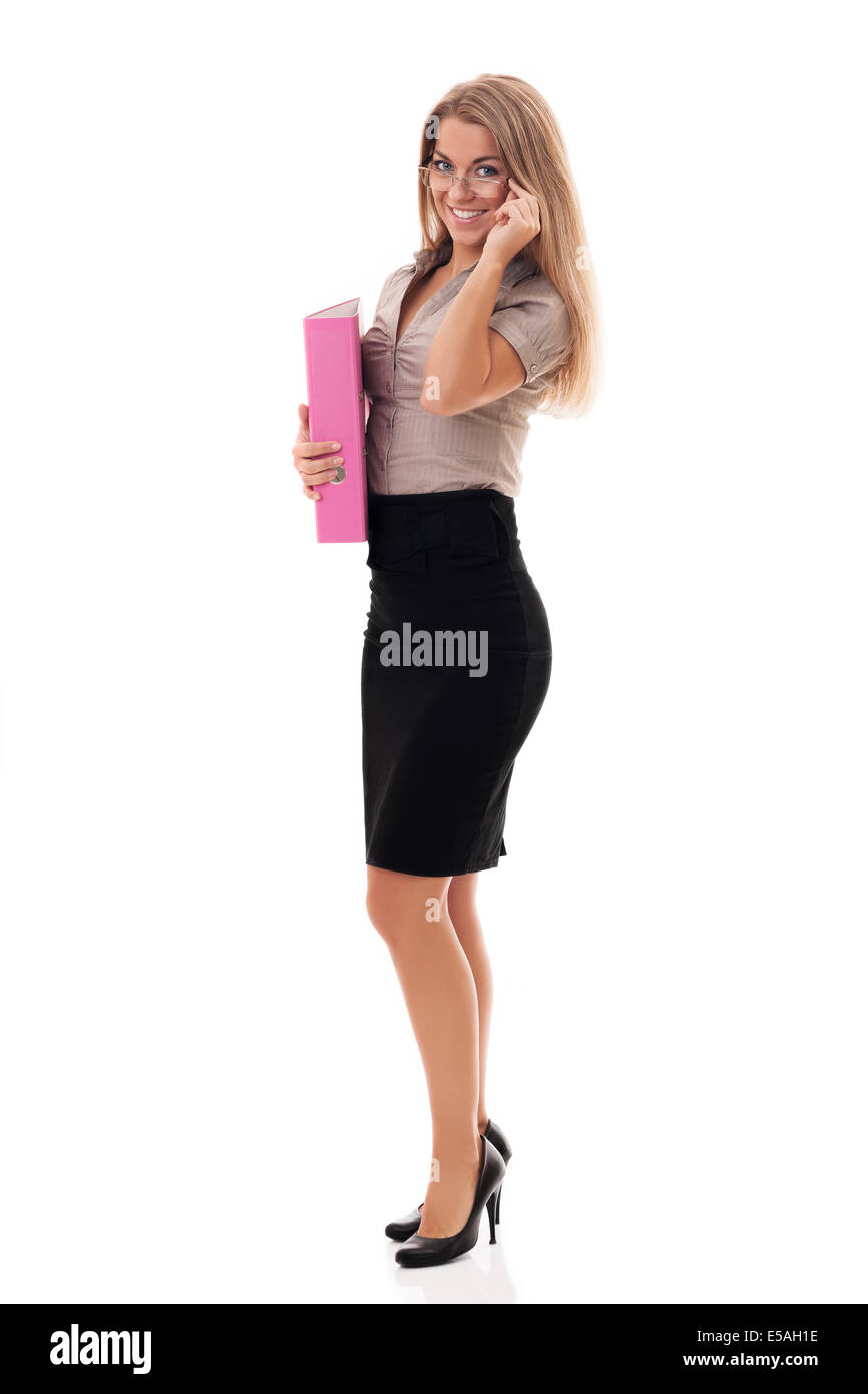 Attractive businesswoman with documents, Debica, Poland - Stock Image