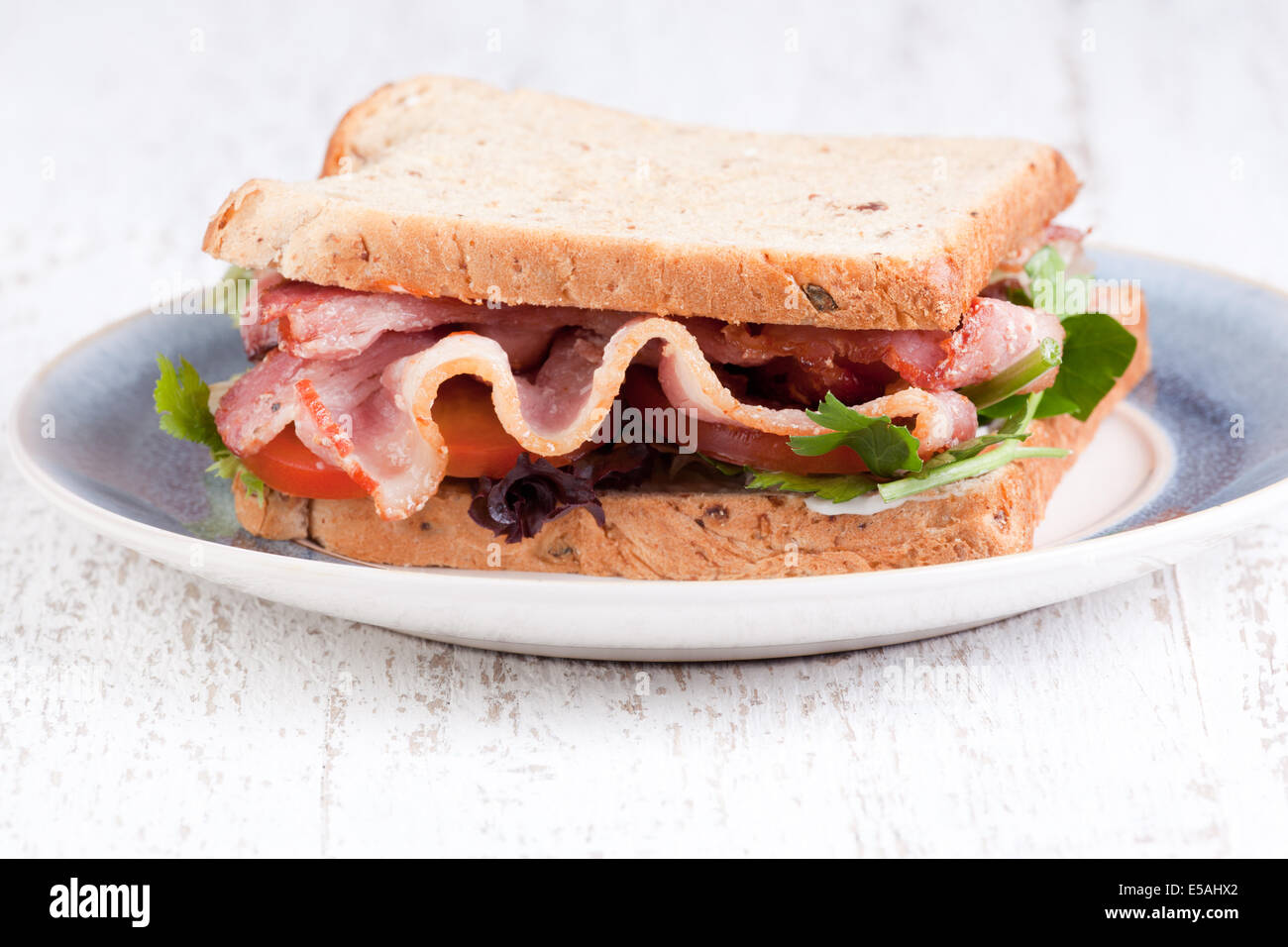 bacon sandwich with brown bred - Stock Image