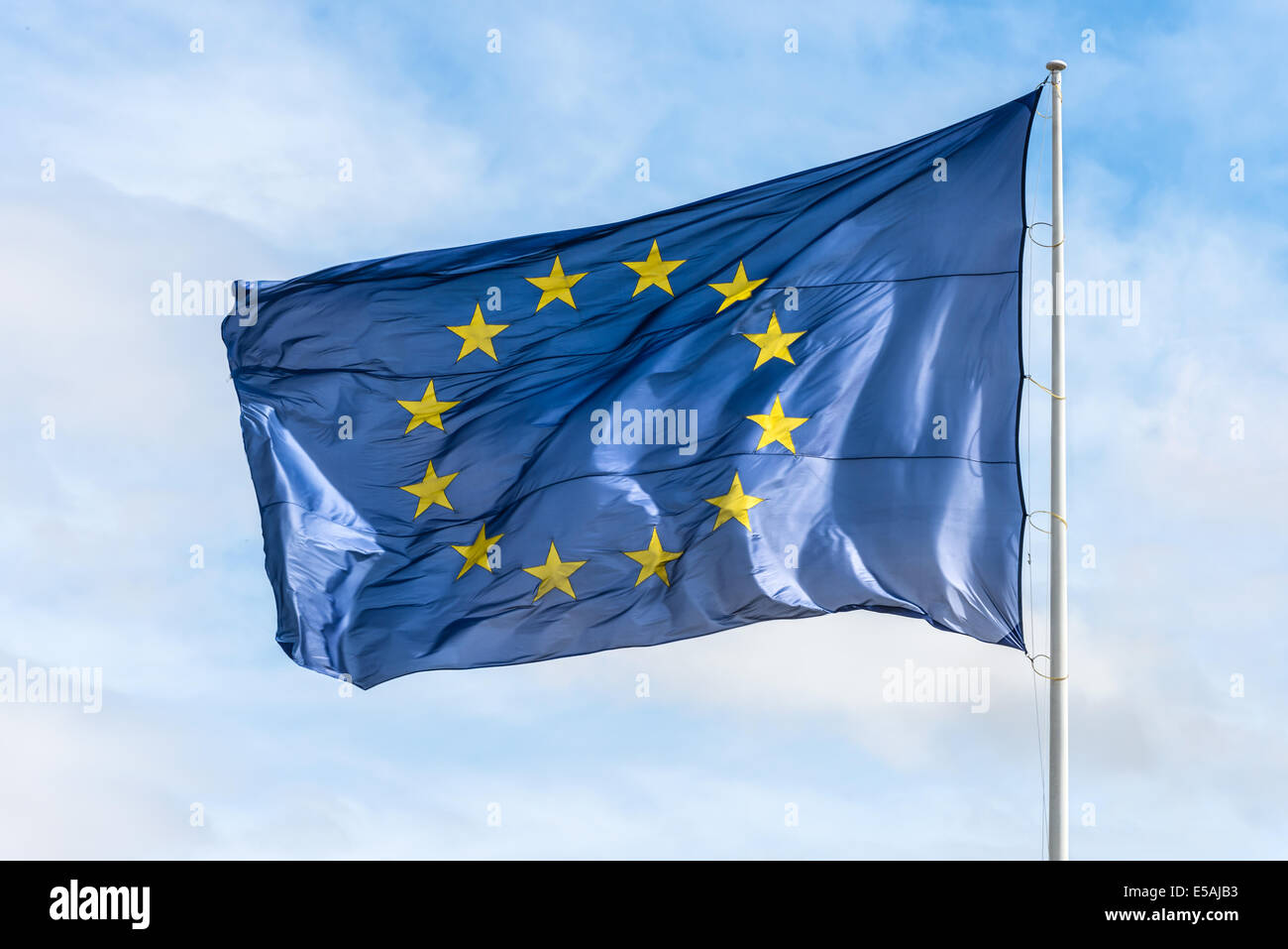 Flag of the European union waving in the wind - Stock Image
