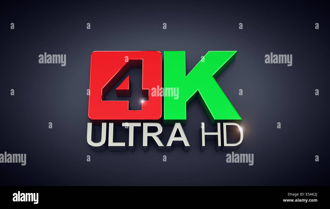 Ultra High Definition , 4K Ultra HD text on dark background - Stock Image