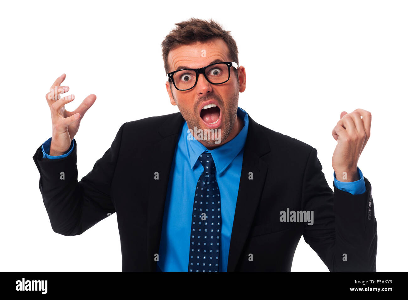 Angry businessman screaming very loud, Debica, Poland - Stock Image