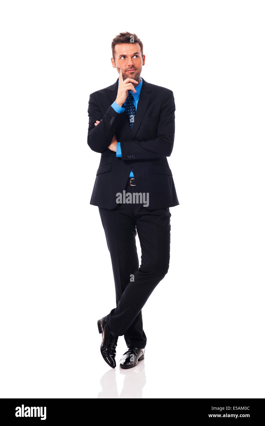 Handsome businessman thinking about something Debica, Poland - Stock Image