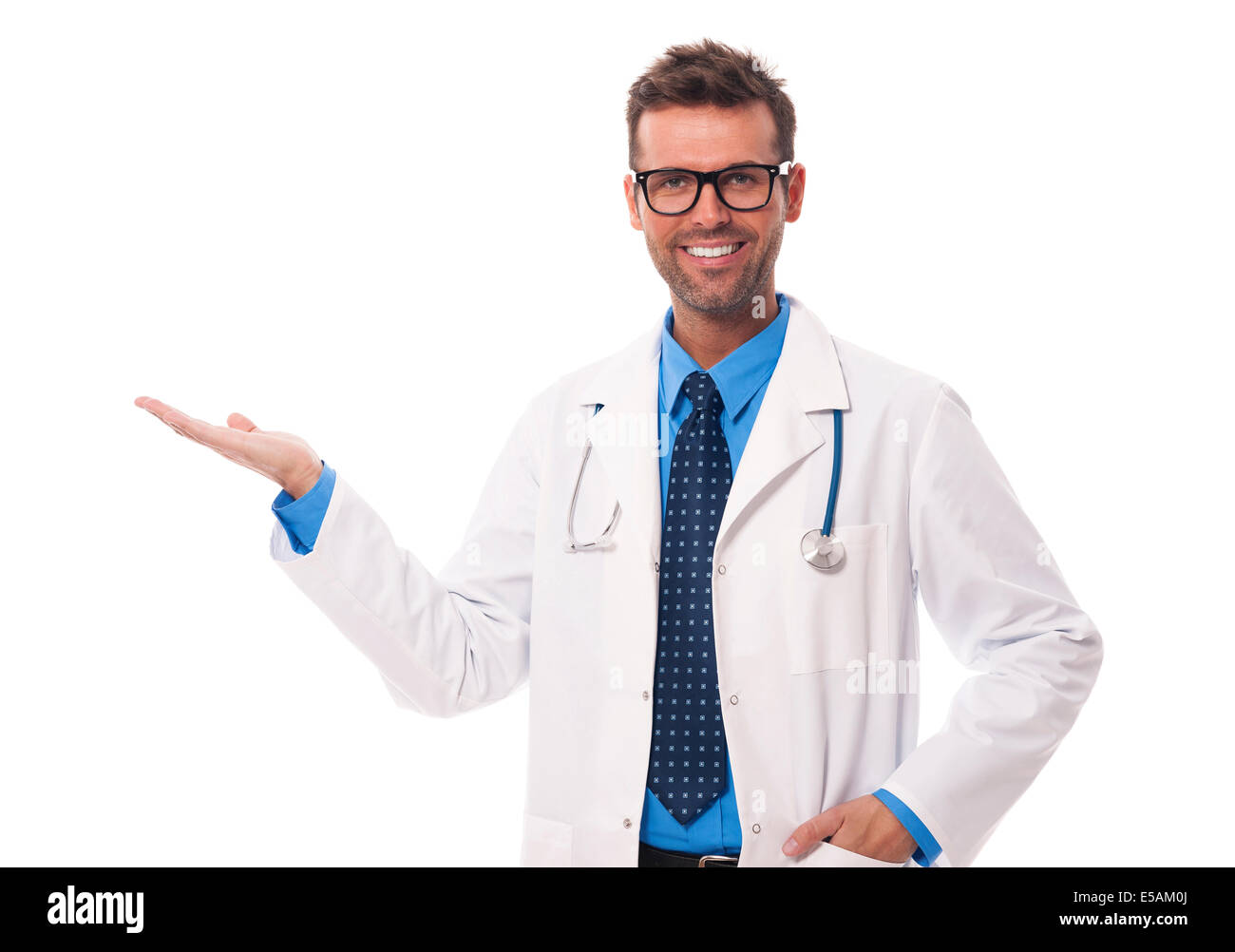 Happy doctor wearing glasses presenting something, Debica, Poland - Stock Image