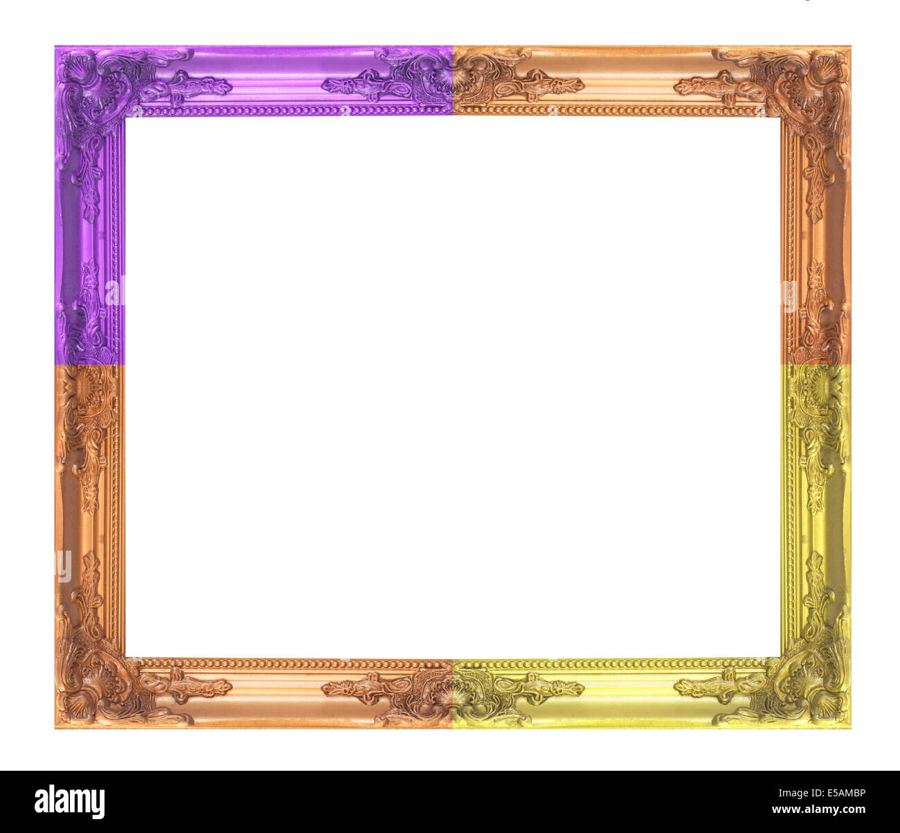 Frame  multi-colored wooden frame isolated on a white background - Stock Image