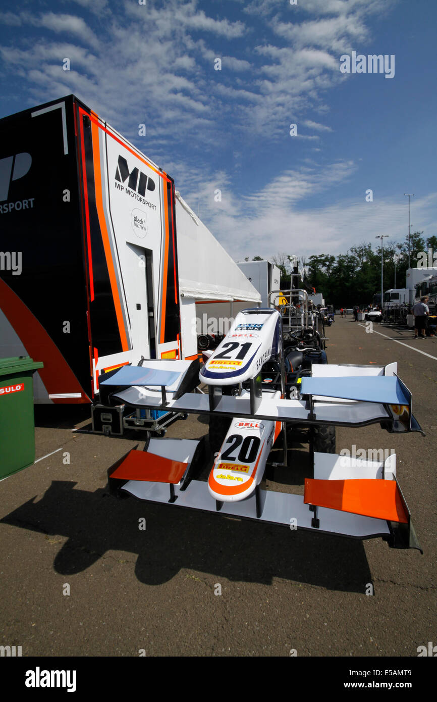 Magyorod, Hungaroring, Hungary. 25th July, 2014. GP2 and GP3 racing series on Hungaroring. Front wings of MP Motorsport - Stock Image