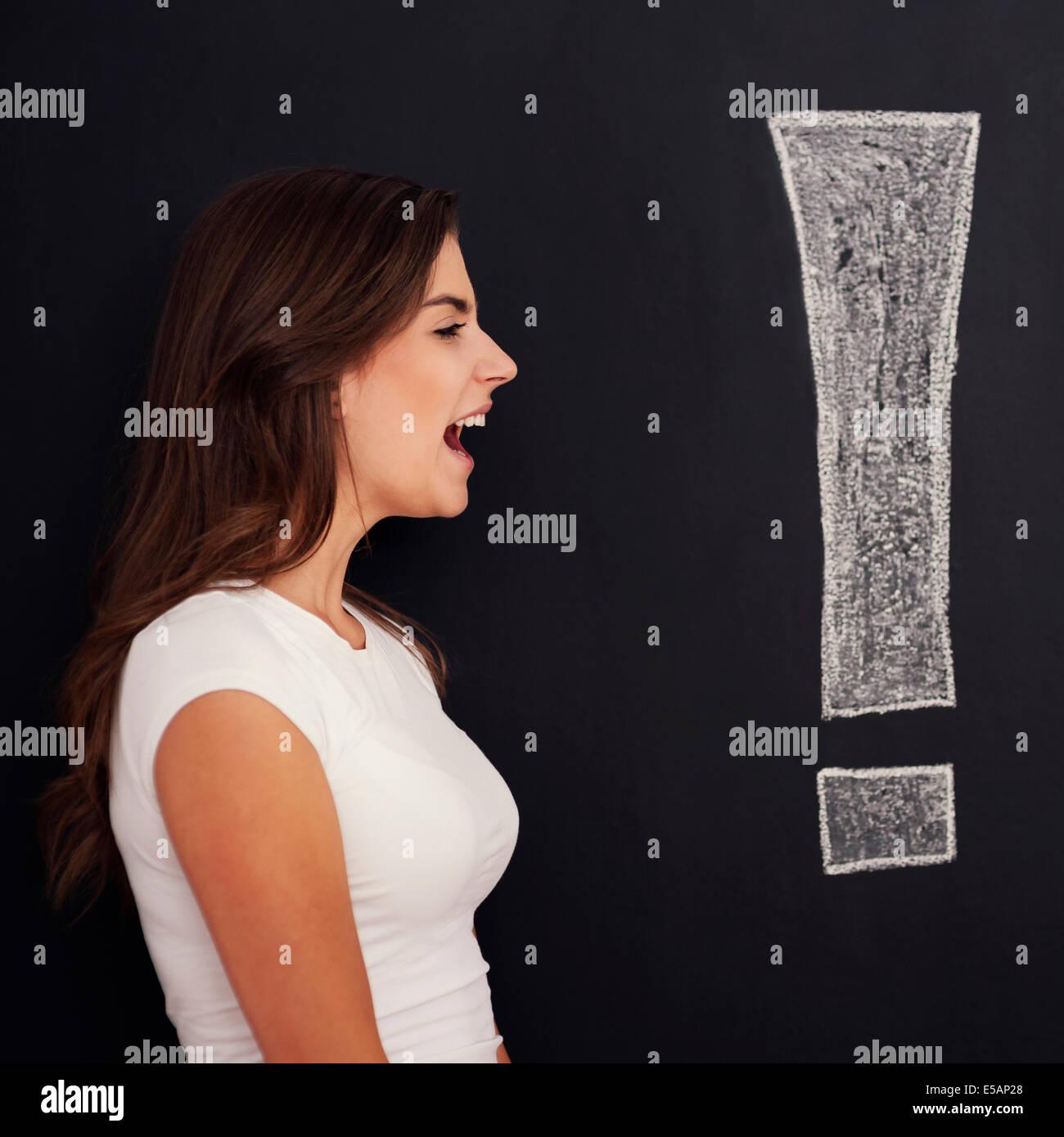 Loud screaming woman, Debica, Poland - Stock Image