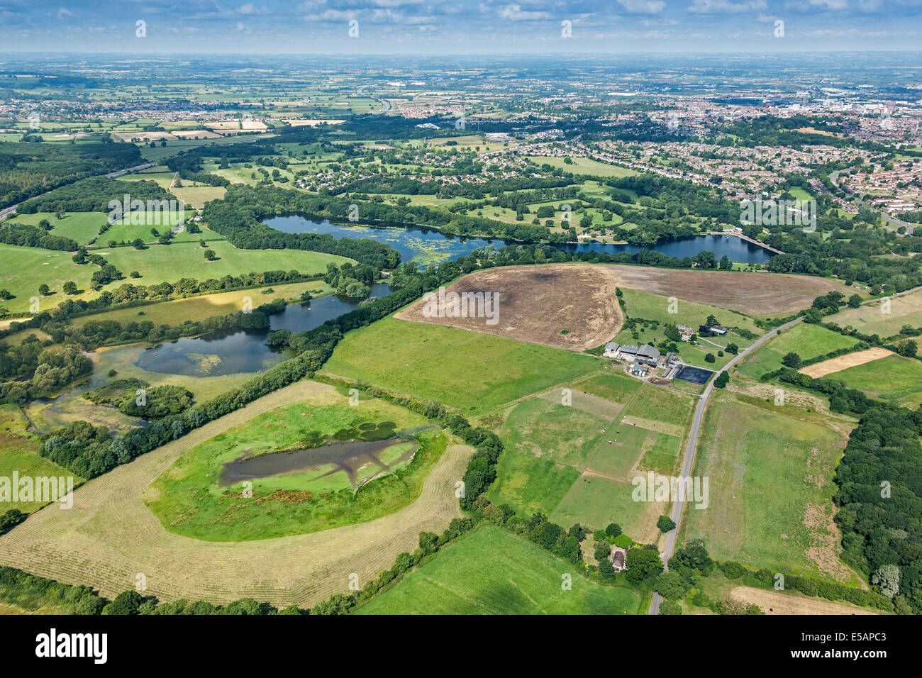 Aerial view of Coate Water Country Park looking towards ...