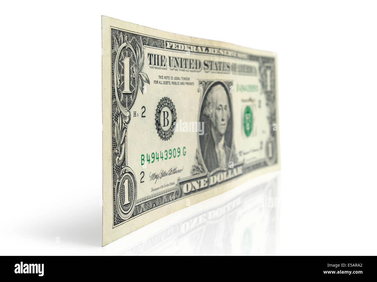 Dollar bill on a white background - Stock Image