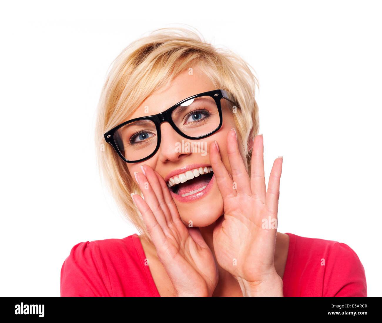 Fashionable woman shouting Debica, Poland - Stock Image