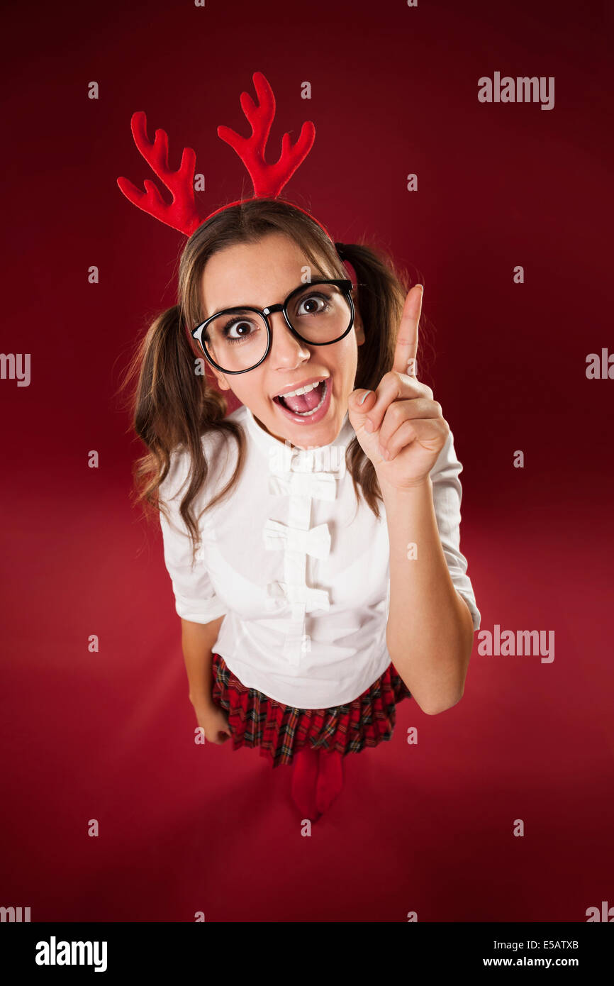 Bizarre nerdy woman with hand sign  Debica, Poland - Stock Image