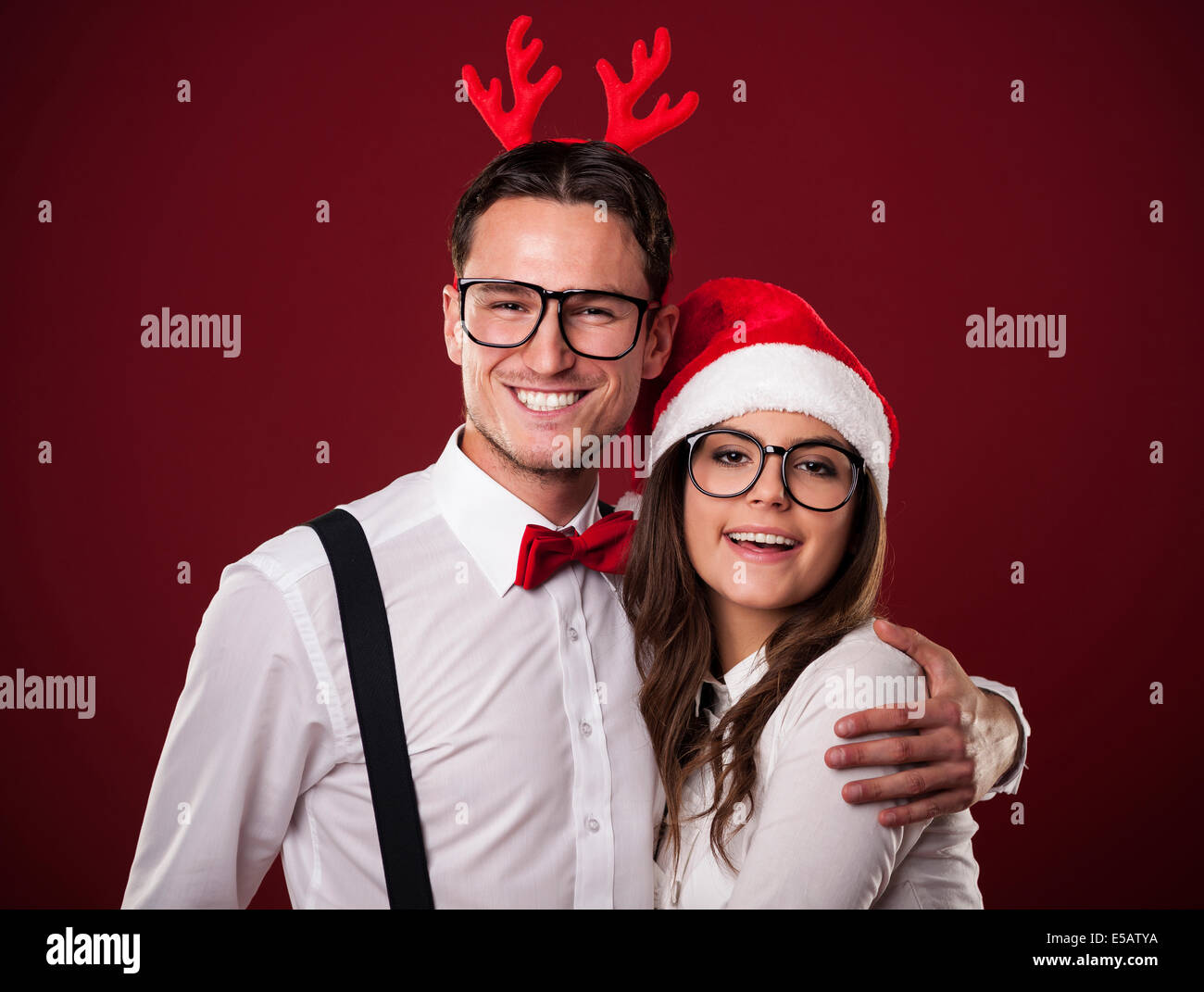 Portrait of lovely couple in Christmas time Debica, Poland Stock Photo