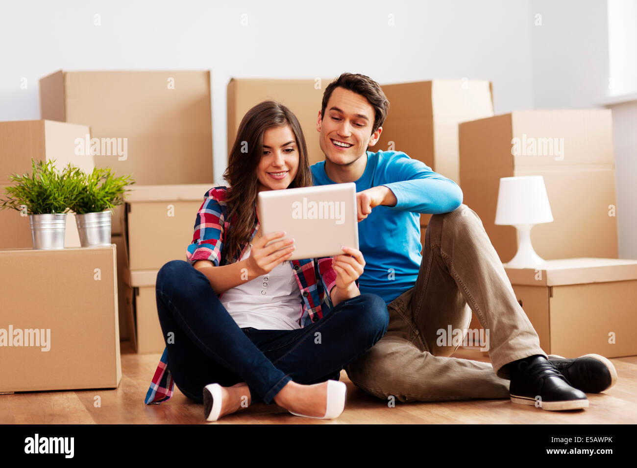 Happy couple take decisions  Debica, Poland - Stock Image