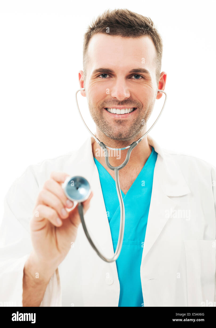 Cheerful doctor with stethoscope Debica, Poland - Stock Image
