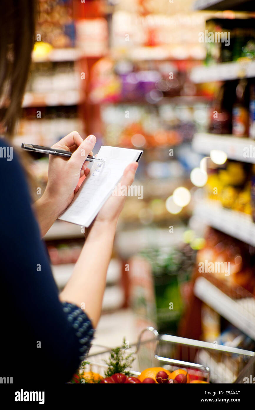 Shopping list Debica, Poland - Stock Image