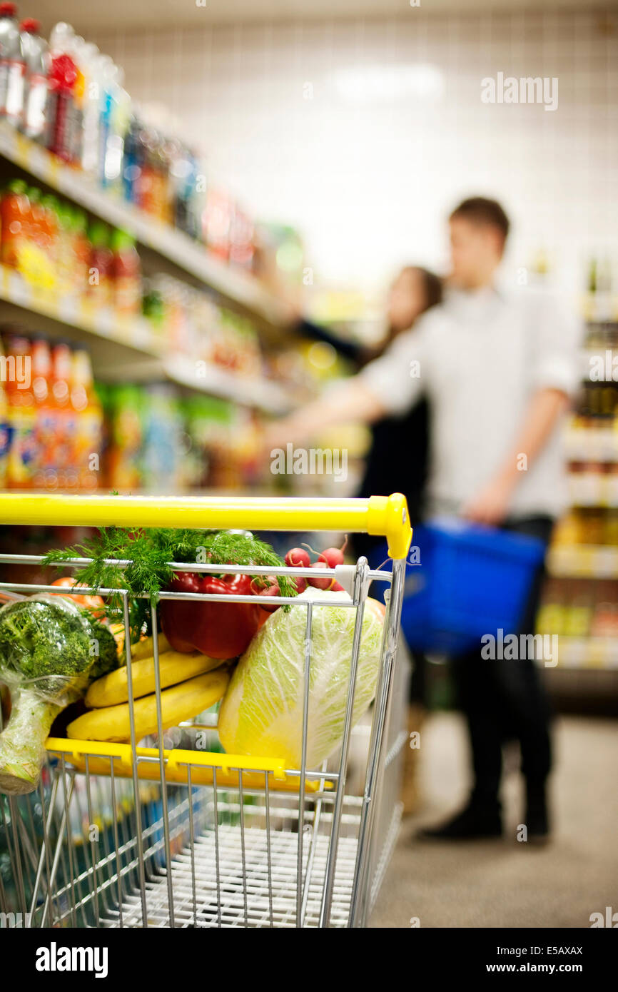 Shopping trolley Debica, Poland - Stock Image
