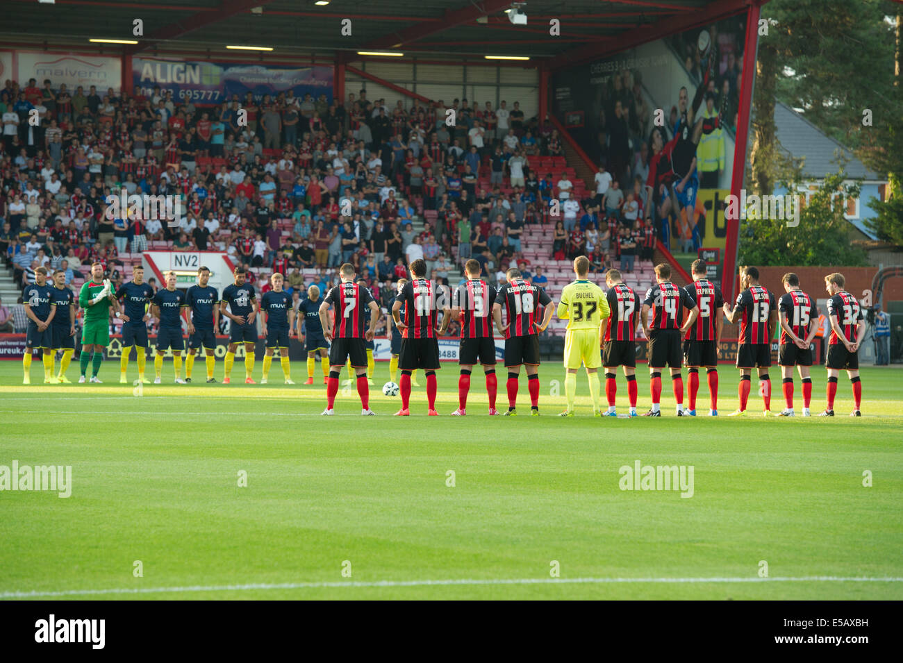 Bournemouth, Dorset, UK. 25th July, 2014. Pre Season Friendly. AFC Bournemouth versus Southampton. The players stand - Stock Image