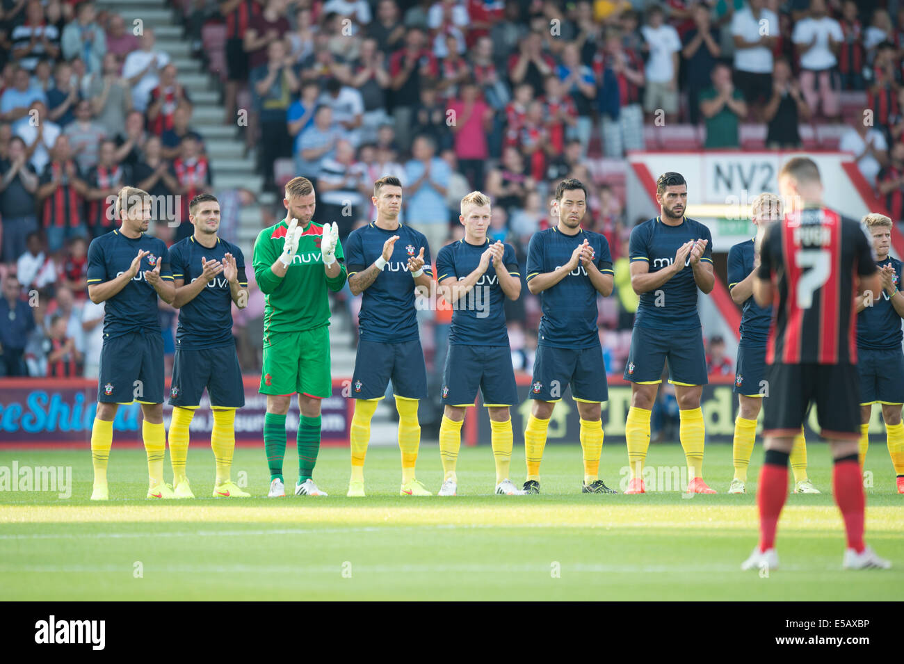 Bournemouth, Dorset, UK. 25th July, 2014. Pre Season Friendly. AFC Bournemouth versus Southampton. Southampton players - Stock Image