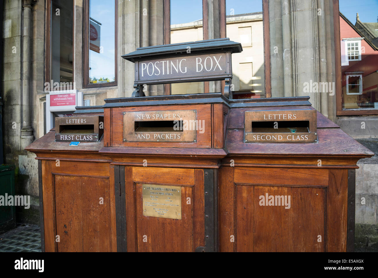 Old fashioned wooden post box, St Aldate's Street, Oxford, England, UK Stock Photo