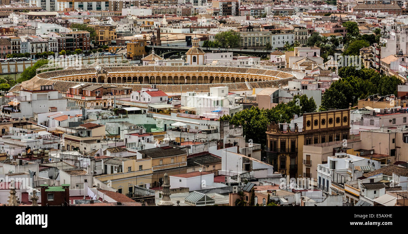 View of Plaza de Toros from the top of La Giralda at Sevilla´s Cathedral looking toward Guadalquivir River. - Stock Image