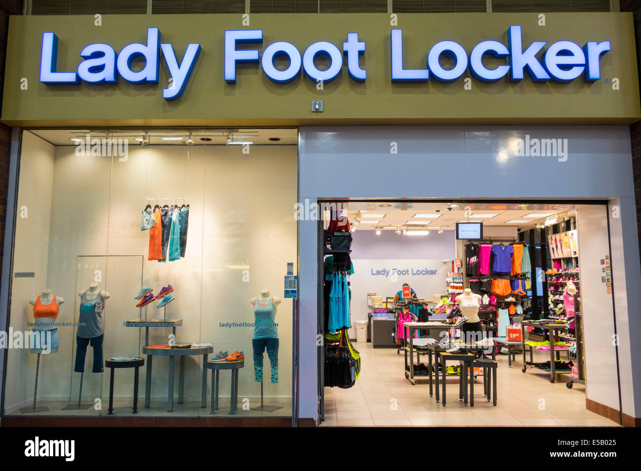 afa5f6dc8d9a2 Los Angeles California CA L.A. Downtown Macy s Plaza urban shopping center Lady  Foot Locker athletic footwear clothes chain store window mannequin ret