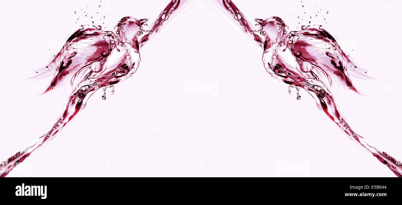 Two birds made of water flying towards each other. - Stock Image