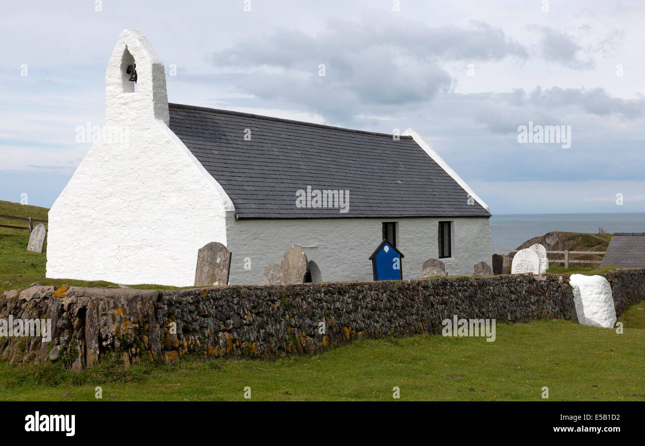 The Church of the Holy Cross,  Mwnt, Cardigan Bay, Ceredigion, Wales, UK. - Stock Image