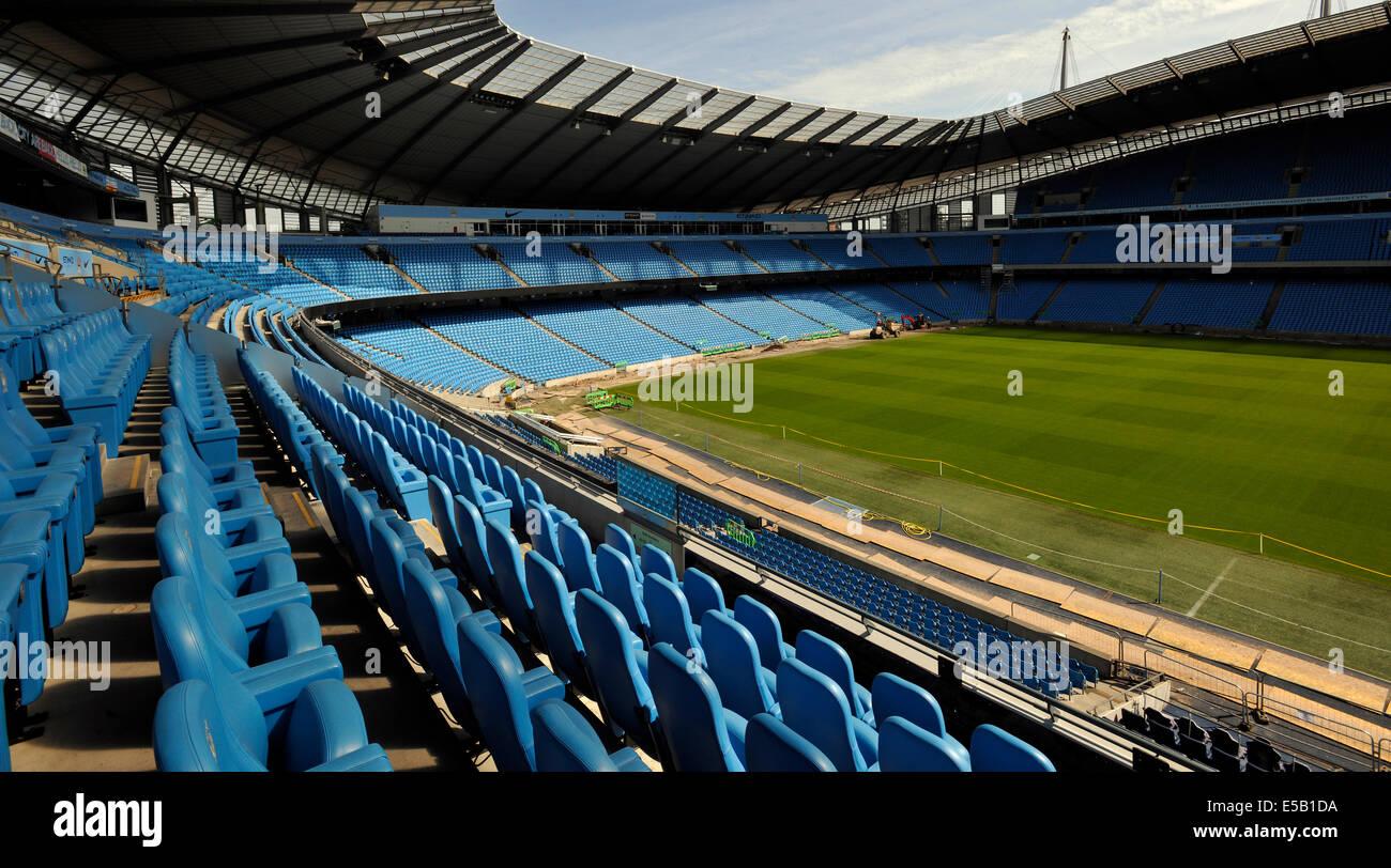 Etihad (formerly the City of Manchester) Stadium, home of Manchester City Football Club, Manchester, England, UK. - Stock Image