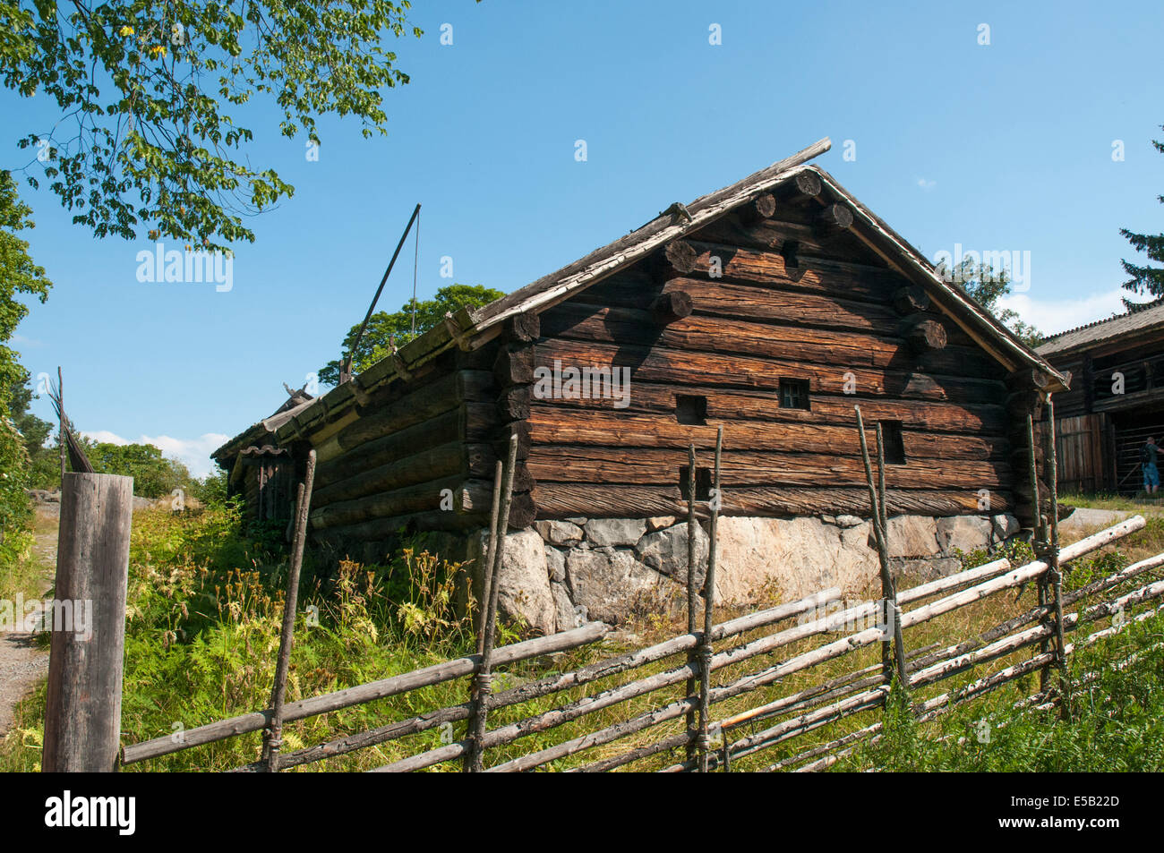 Farm cottage at Skansen open air museum, Djurgarden, Stockholm - Stock Image