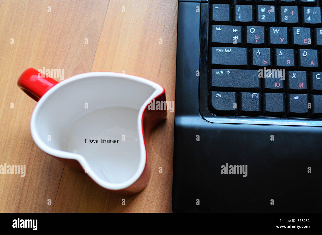 Love internet concept heart glass with logo Stock Photo