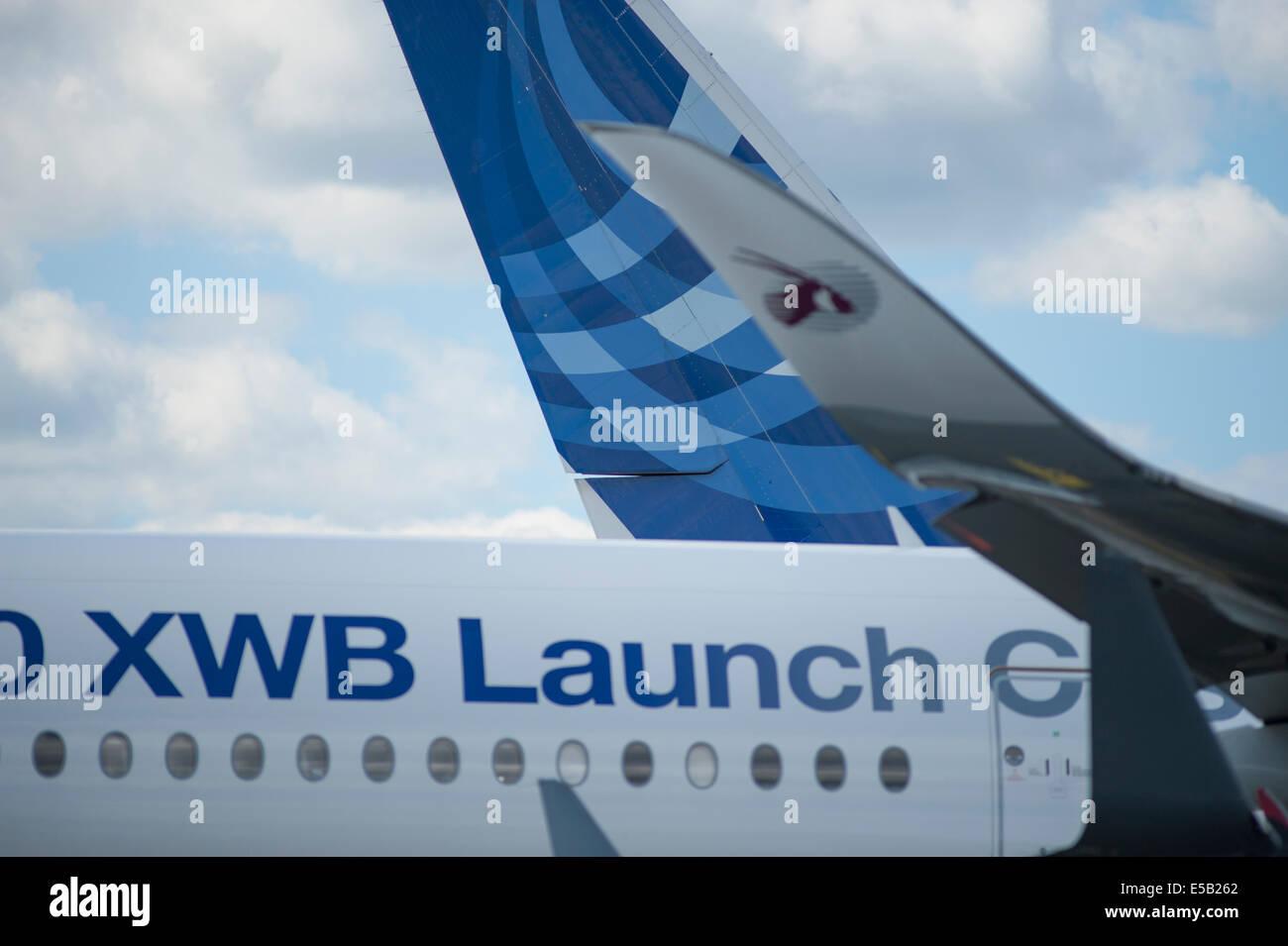 Airbus A350 XWB at the Farnborough International Airshow 2014 - Stock Image