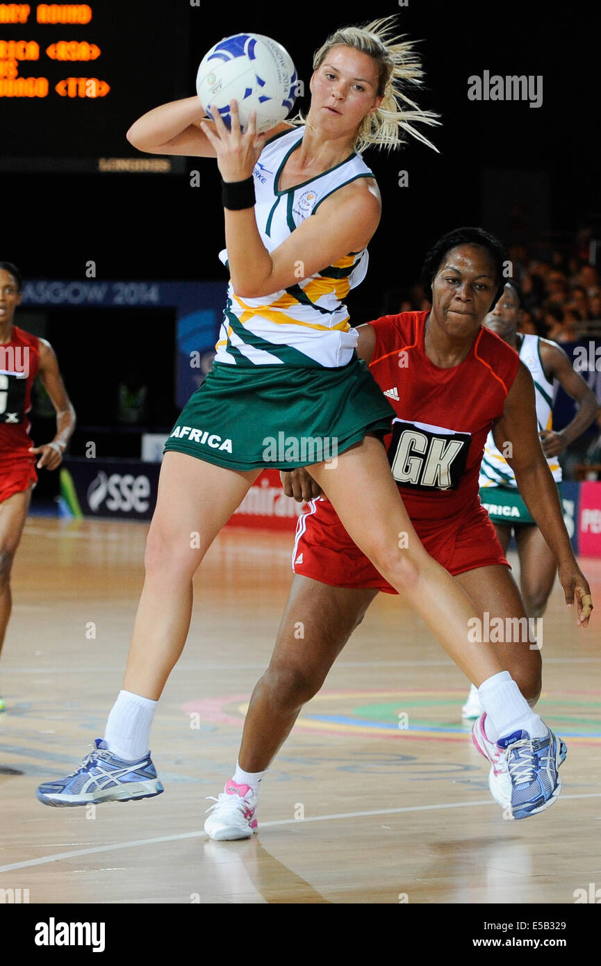 Glasgow, Scotland, UK. 25th July, 2014.  during the netball match between South Africa and Trinidad and Tobago on - Stock Image