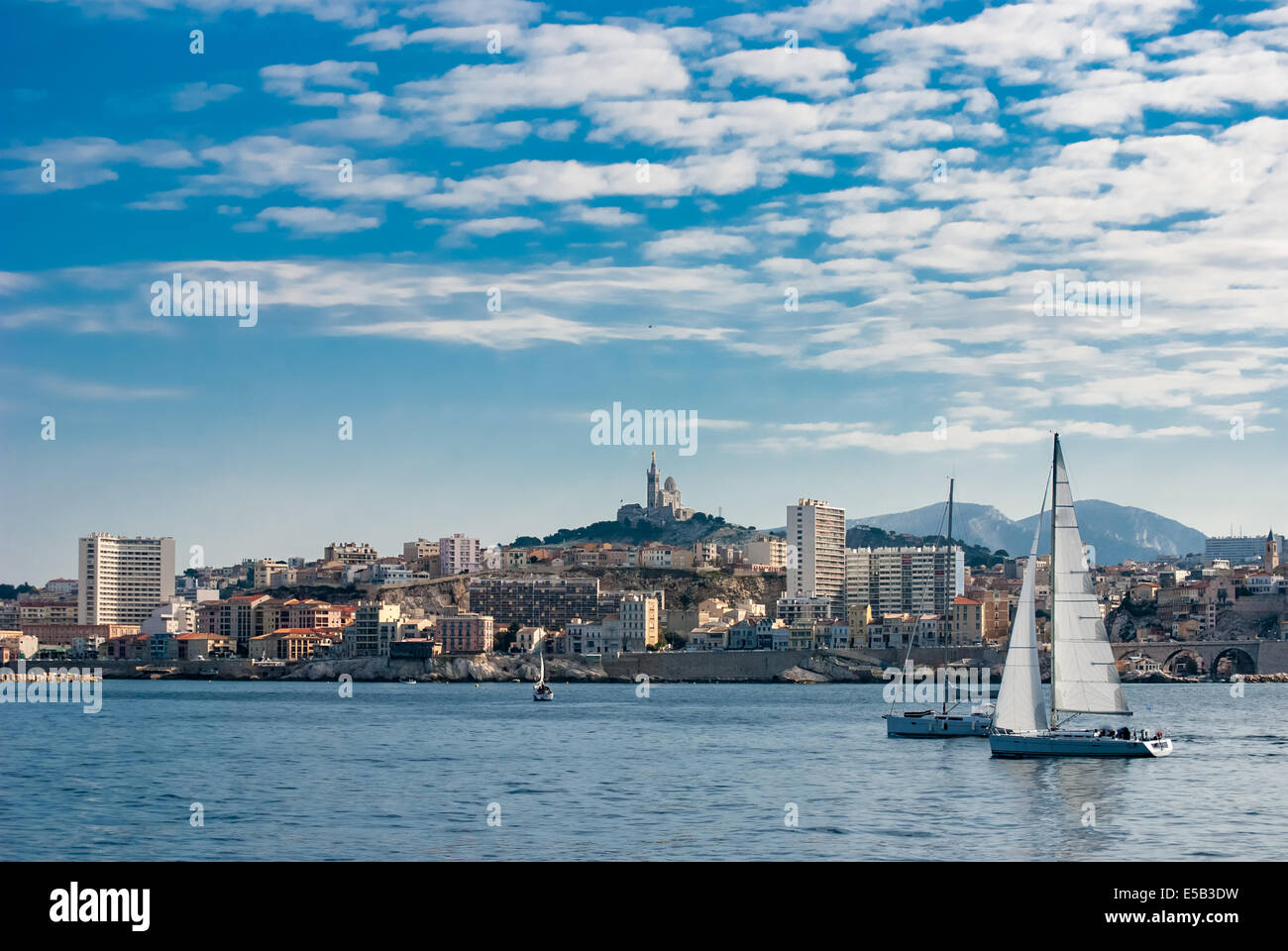 Skyline view over Marseille from The Chateau D'If on Isle D'if - Stock Image