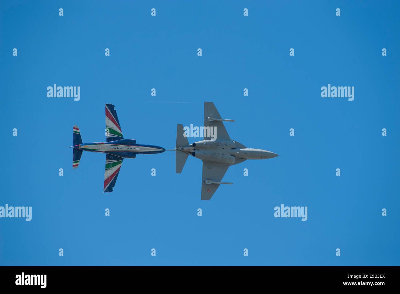 Alenia Aermacchi M-346 Master and A345, Farnborough International Airshow 2014 - Stock Image