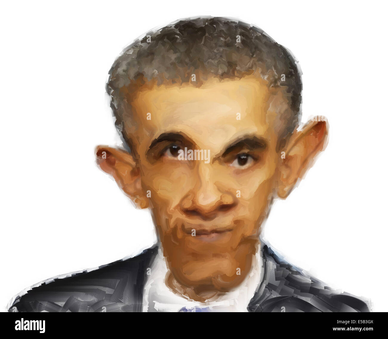 Caricature portrait painting of Barack Obama on a white background - Stock Image
