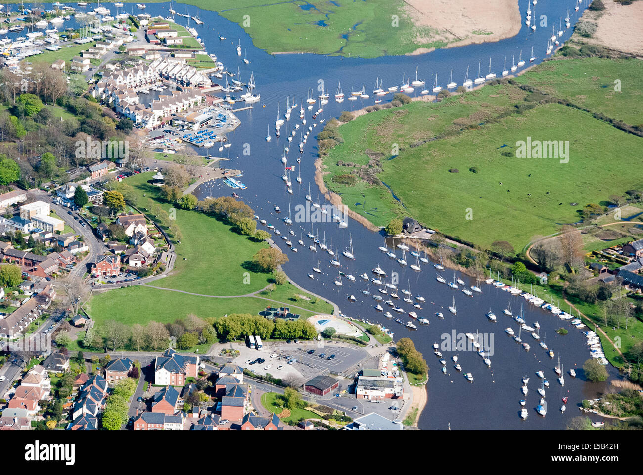 Aerial view moored boat in Christchurch Harbour Dorset UK - Stock Image