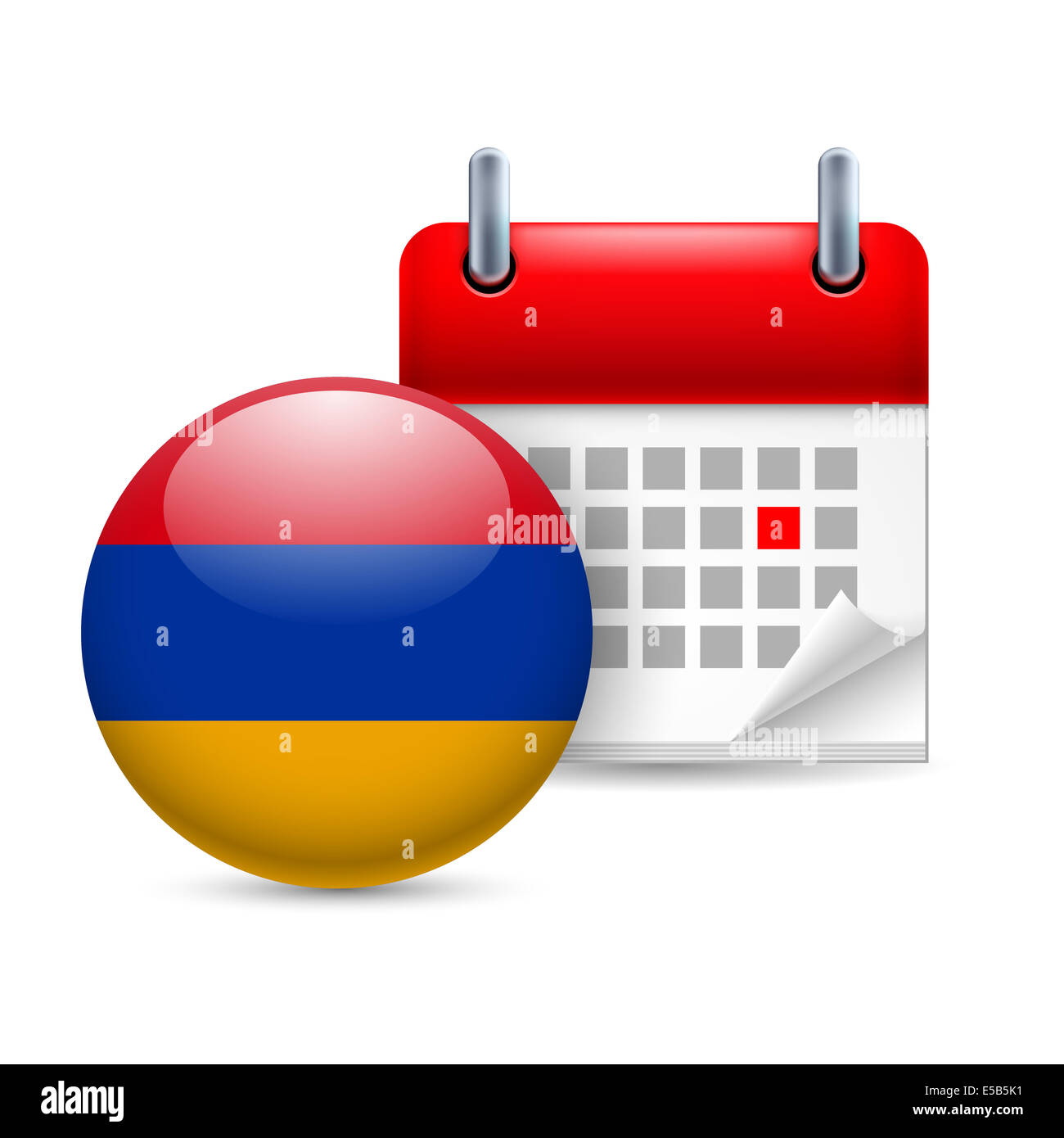 Calendar and round Armenian flag icon. National holiday in Armenia Stock Photo