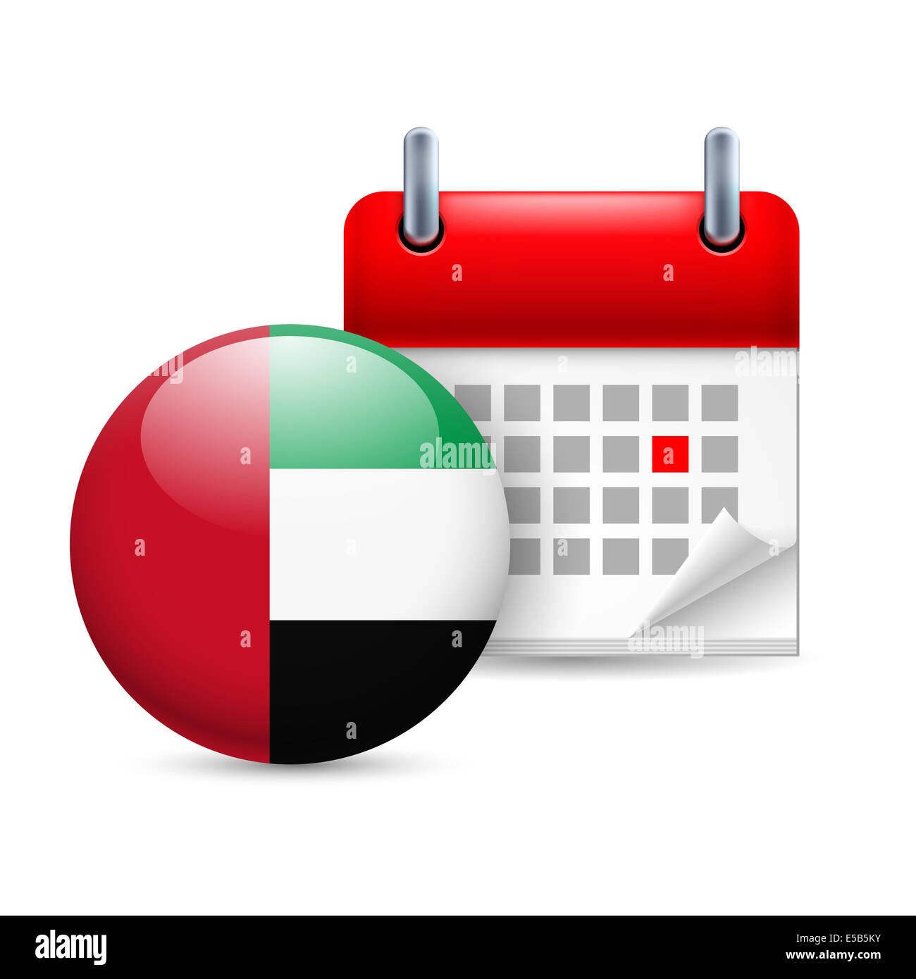 Calendar and round flag icon. National holiday in United Arab Emirates - Stock Image