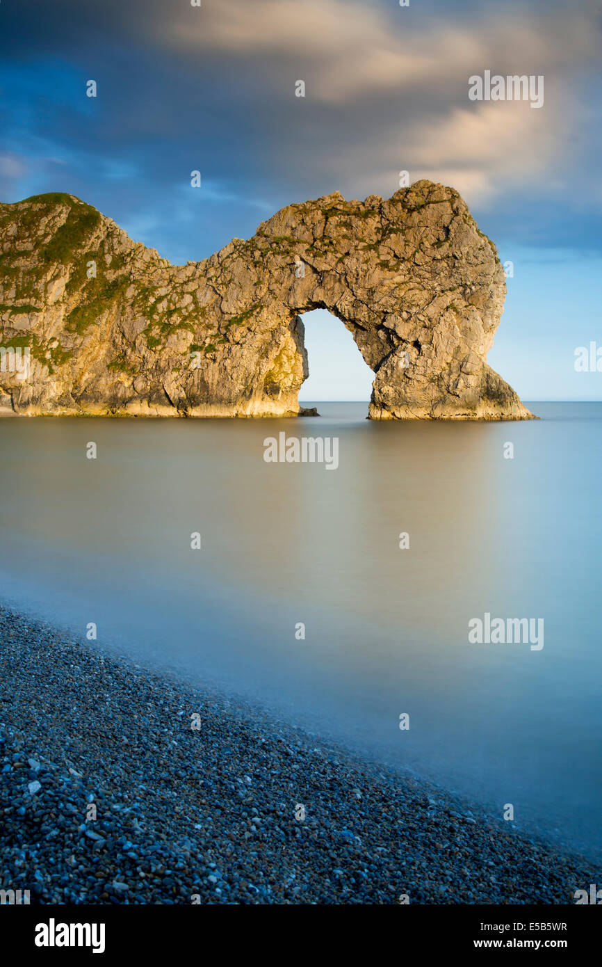 Evening at Durdle Door along the Jurassic Coast, Dorset, England - Stock Image