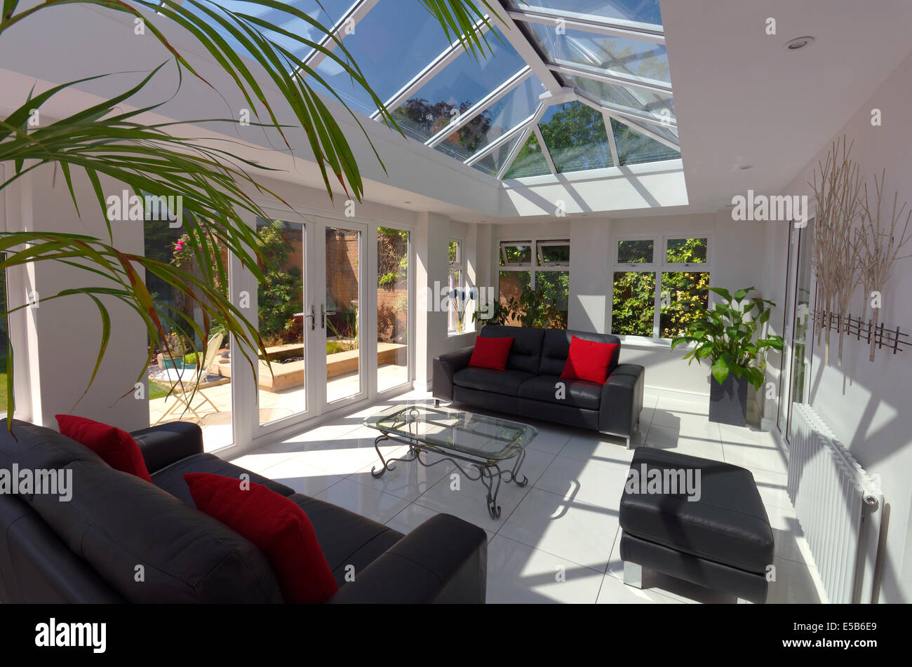 Orangery style conservatory interior home improvement Stock Photo