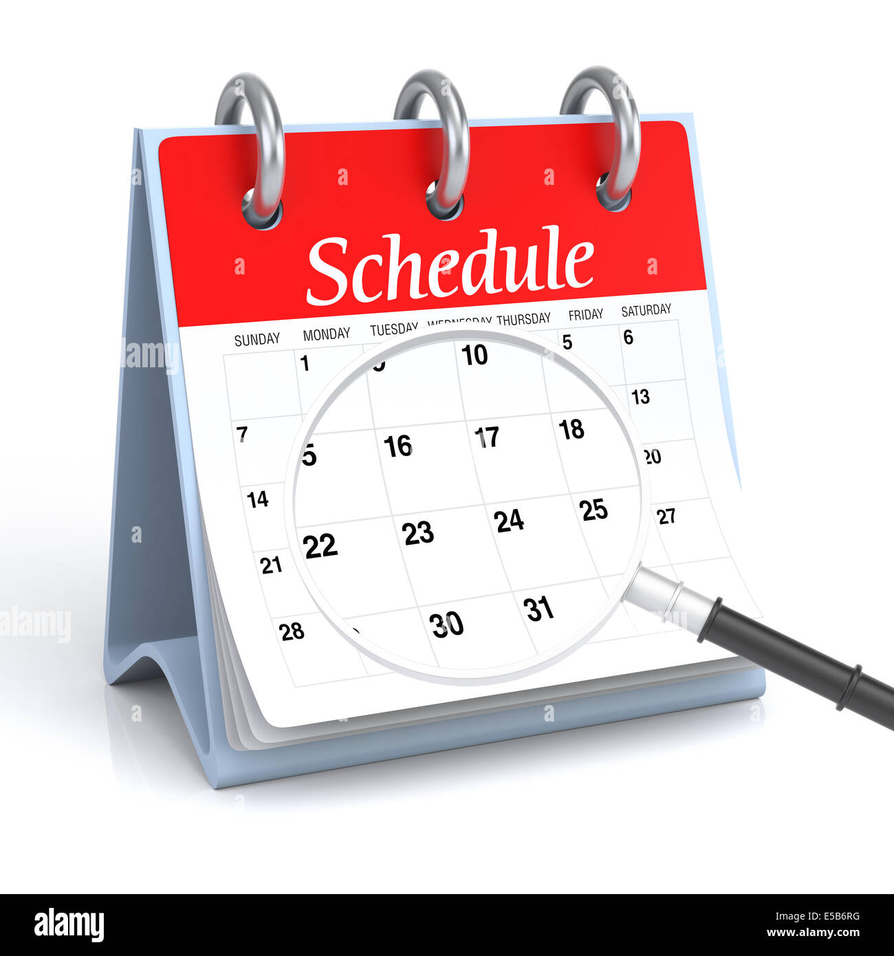 Schedule with Magnify Glass - Stock Image