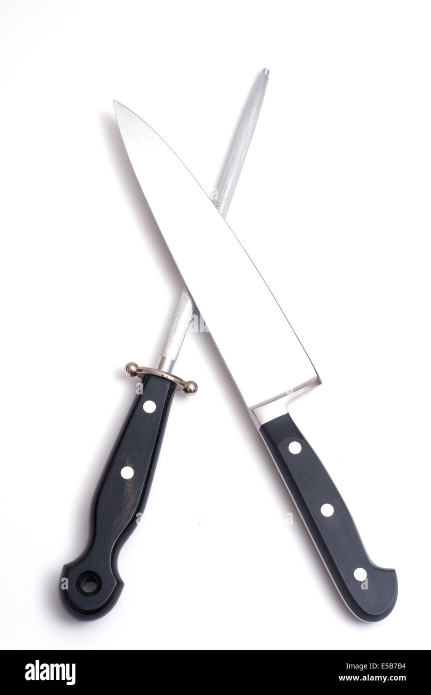Cooking knife with a blade of steel and a sharpening steel - Stock Image